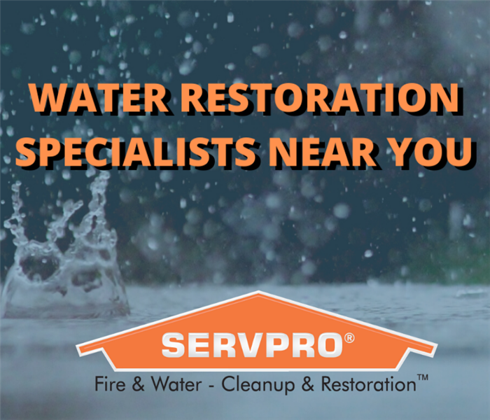 "rain background with ""water restoration specialists"""