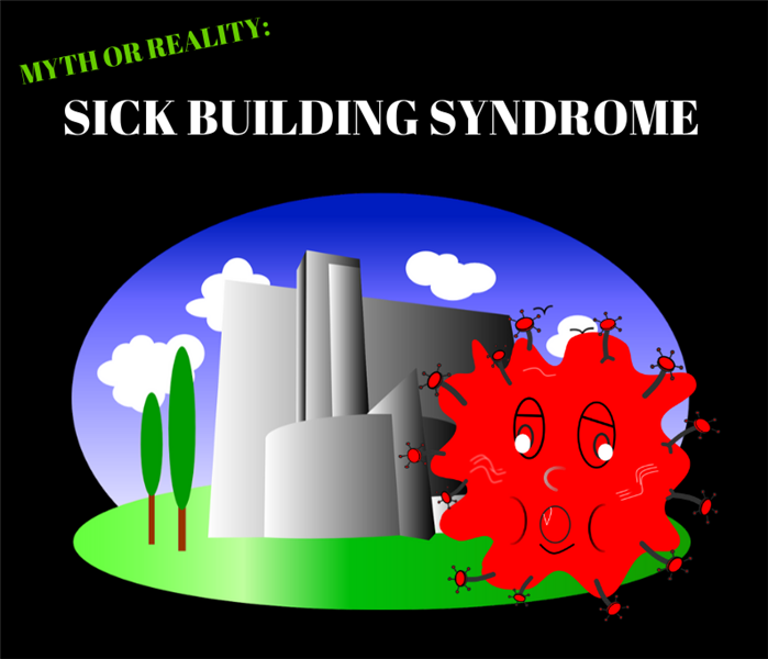 "cartoon building and germ spores with the text ""myth or reality: sick building syndrome"""