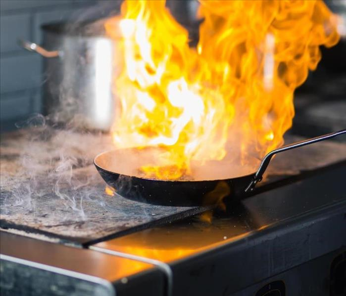 image of large flame over a pan with large amount of oil